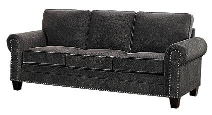 Brilliant Homelegance Cornelia 86 Fabric Sofa Dark Gray Theyellowbook Wood Chair Design Ideas Theyellowbookinfo