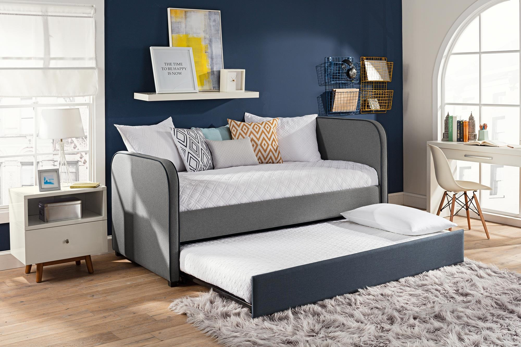 DHP Jesse Twin Kids Bed with Trundle in Gray Linen by DHP (Image #5)