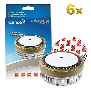 6X Nemaxx Detector de Humo M1-Mini Dorado - sensibilidad fotoeléctrica - Certificado VDS y con batería de ...