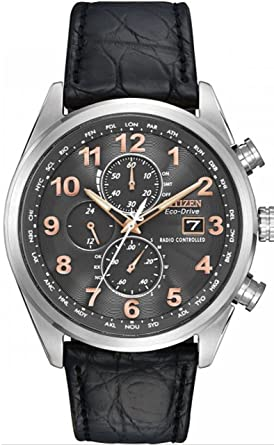 919271c451 逆輸入 シチズン AT8031-07H エコドライブ 電波ソーラー クロノグラフ レザーベルト ウォッチ 腕時計