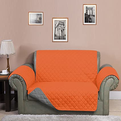 @home Microfibre Reversible Sofa Cover - 70x110, Orange and Grey