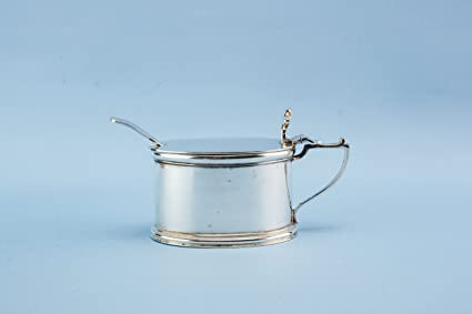 Charmant Antigua Edward Barnard Söhne Plata de ley Kleine condiment Pot Cuchara aceite Serving Vinegar Retro