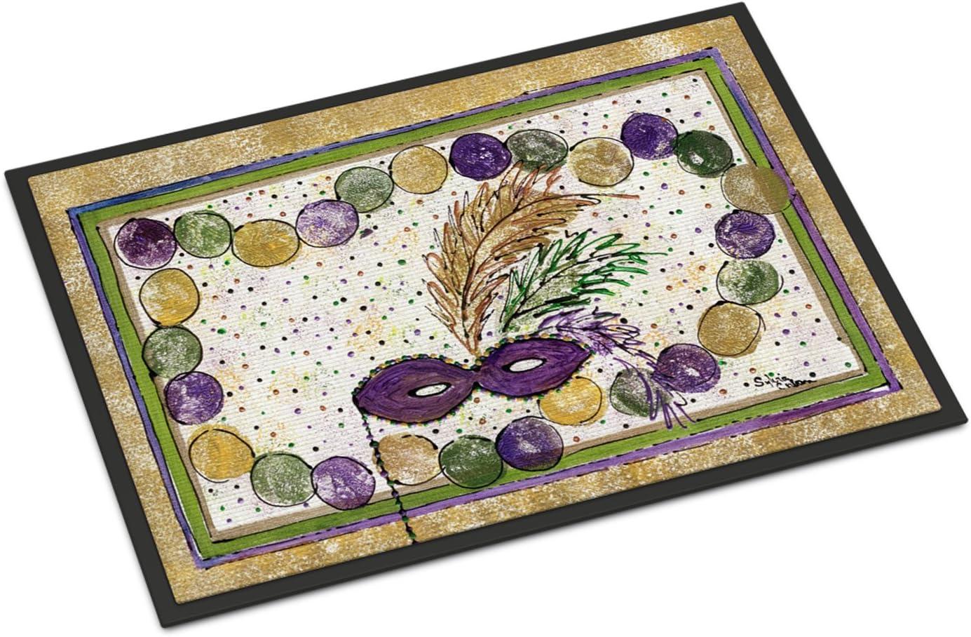 Caroline s Treasures Mardi Gras Beads Indoor or Outdoor Doormat, 24 x 36 , Multicolor