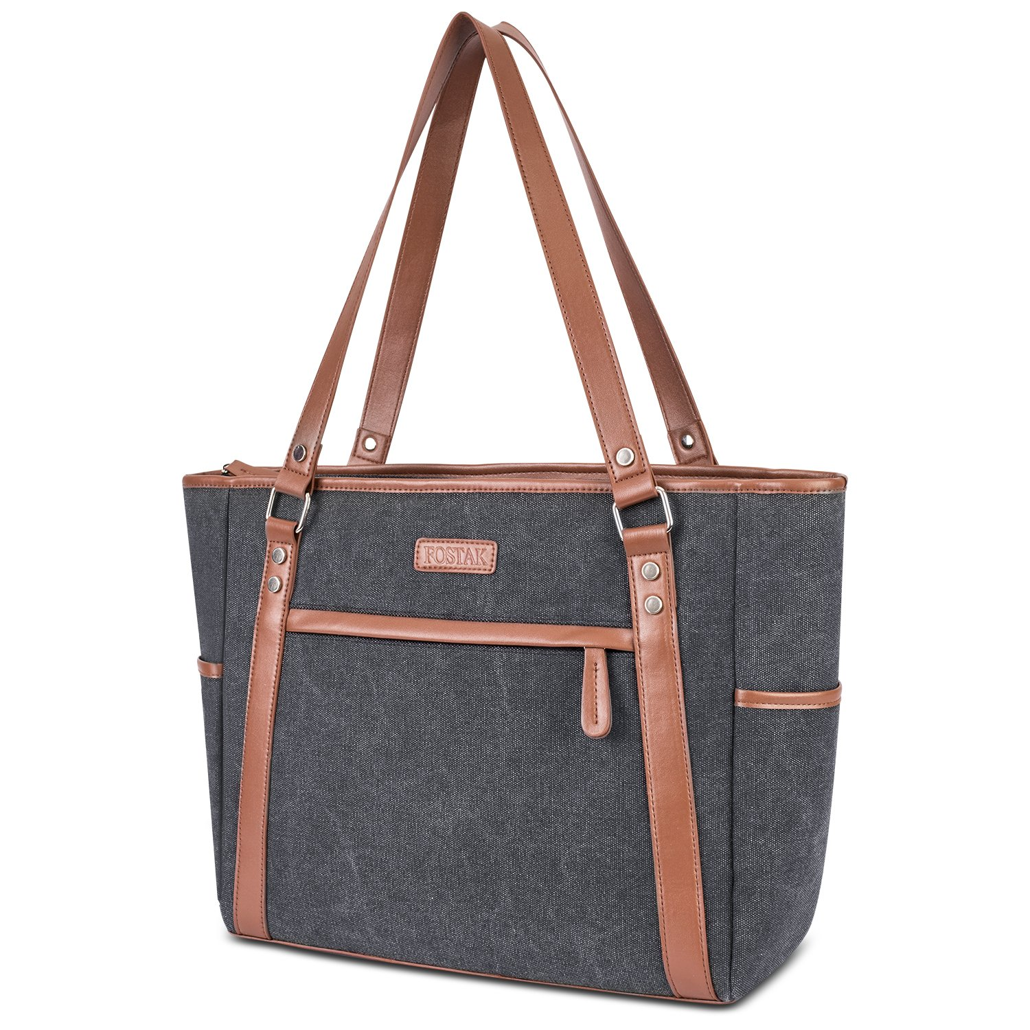 Laptop Tote Bag,15.6 inch Computer Shoulder Bag,Womens Laptop Purse Work Tote Office Briefcase Large Capacity Vintage Canvas Handbag for Business College Travel Casual Use,Gray