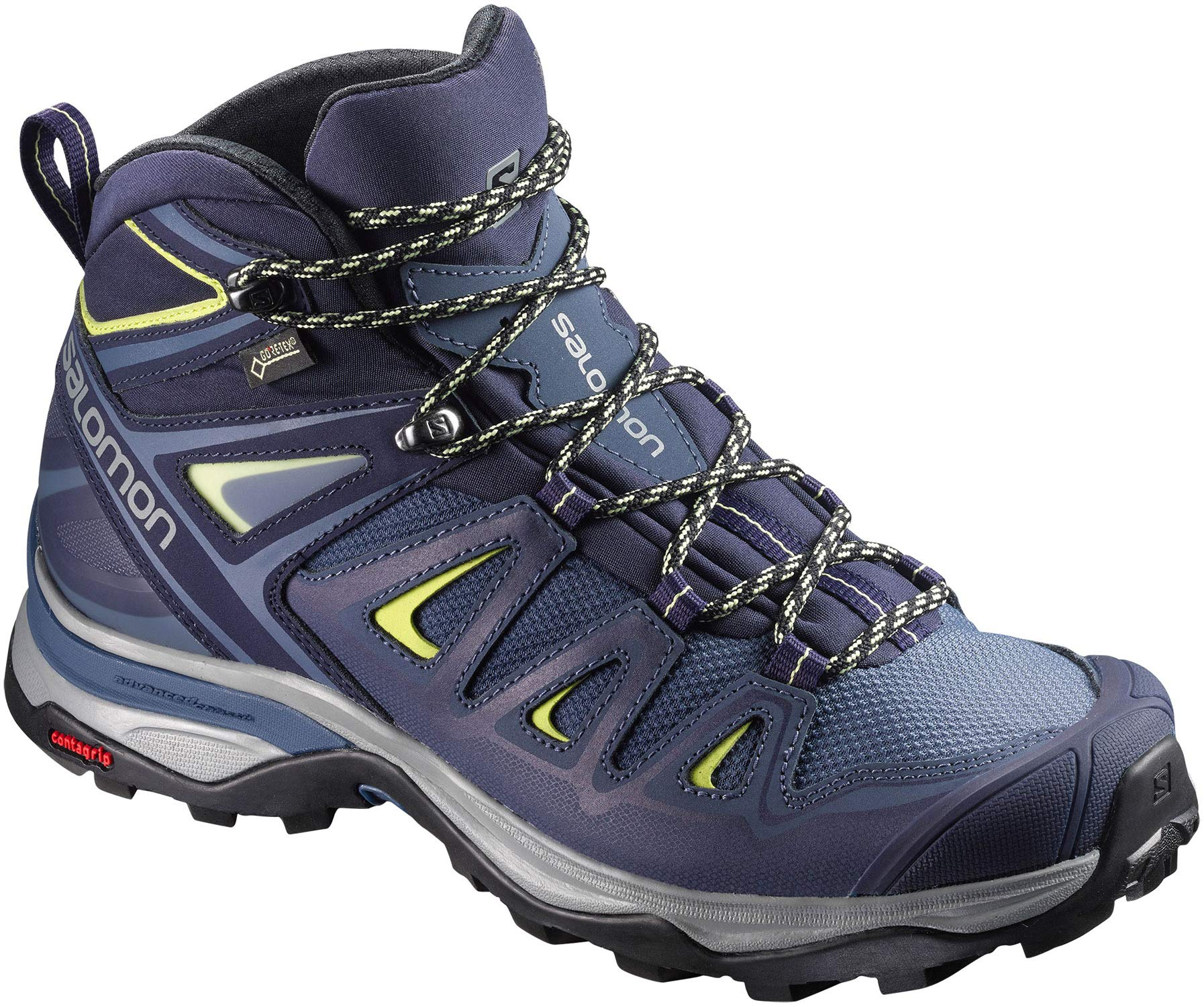 Salomon Women's X Ultra 3 Wide Mid GTX Hiking Boots, Crown Blue/Evening Blue/Sunny Lime, 9 Wide by SALOMON