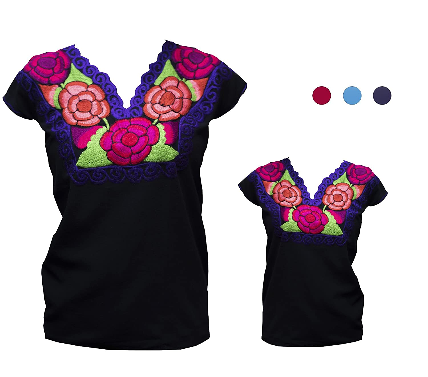 Authentic Mexican Tejido en Telar Floral Embroidered Black Cotton Tunic Peasant Blouse - DeluxeAdultCostumes.com