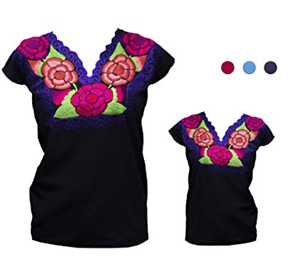 8f19c96d077 TABIK Floral Embroidered Mexican Peasant Blouse for Women