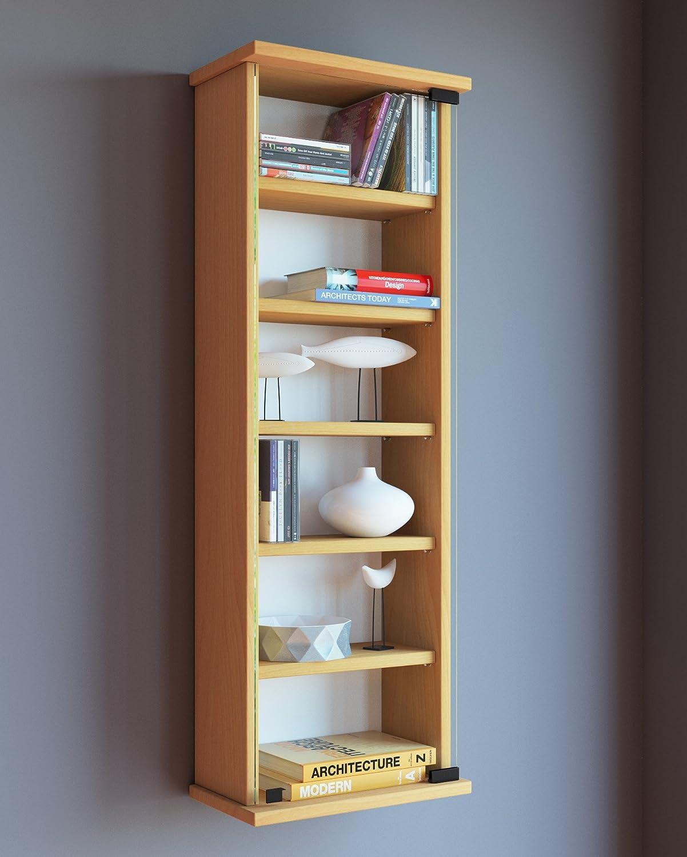 in Legno//Vetro di Sicurezza ESG /Loposa/ Legno VCM 912021/ 91,5 x 31 x 18 cm /Mensola da Parete per 150/CD Bianco