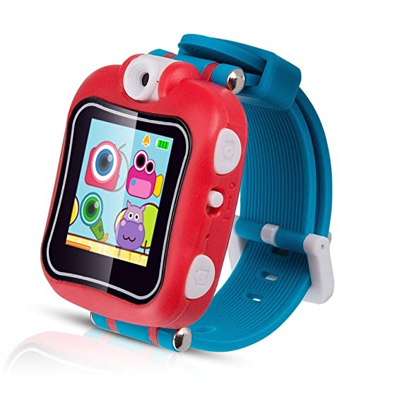 AGPTEK Kid Smart Watch, Children Smart Watch Multifunction (Alarm Clock,Video Recording,Game,Stopwatch) with 90 Degree Rotating Camera, Red