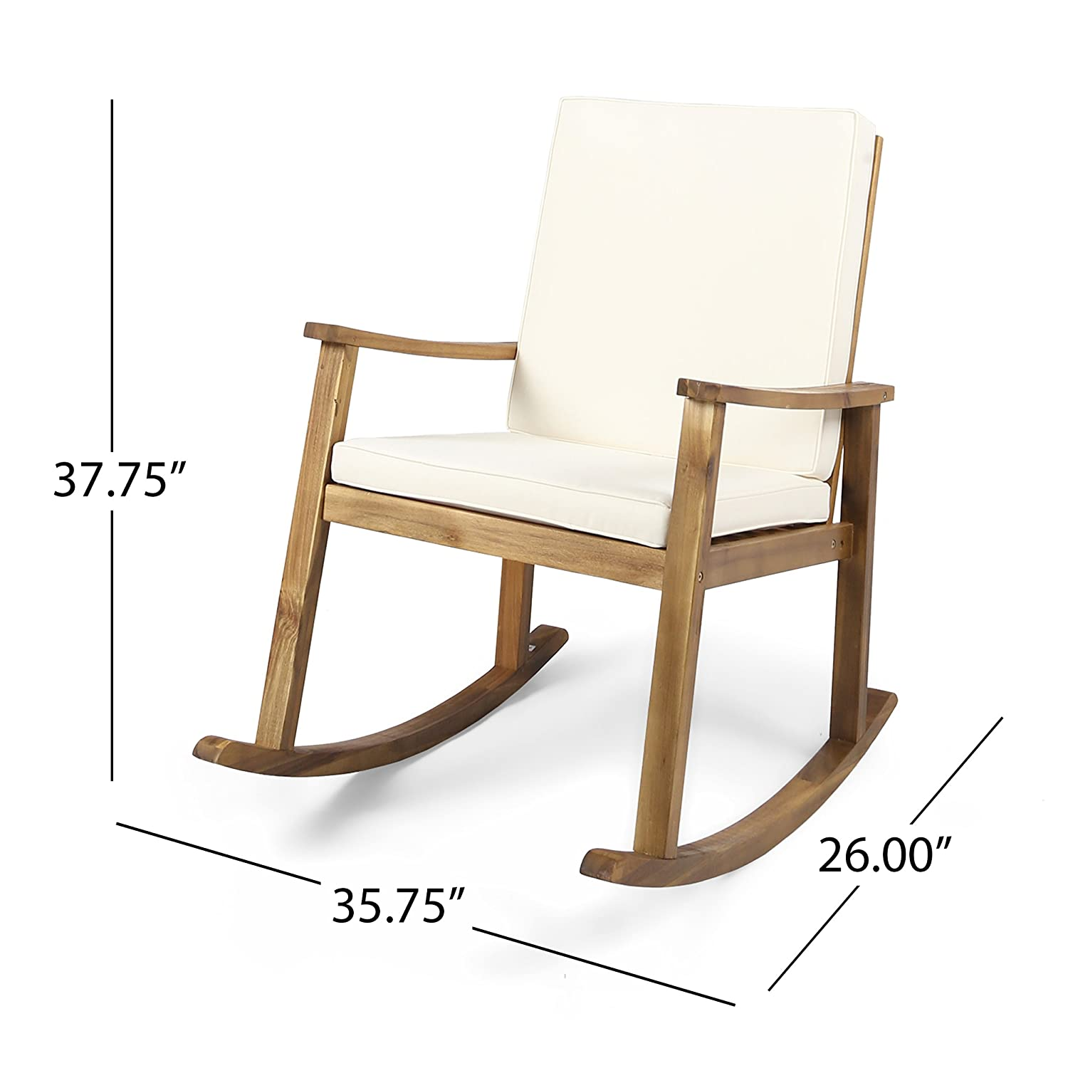 Great Deal Furniture Caspar Outdoor Acacia Wood Rocking Chair with Cushion Teak Cream