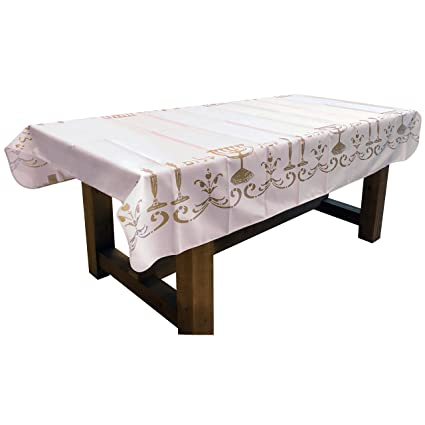 60 X 120 Inch Rectangular Tablecloth White Shabbat Chalom Jewish Stain Resistant Washable Liquid Spills Seats 10 To 12 People Other Size 63