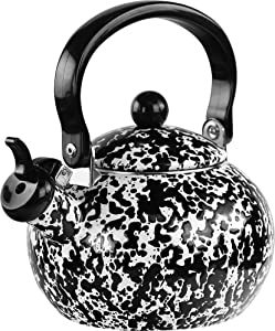 Reston Lloyd 2 Quart Enamel, Teakettle, Whistling kettle, Tea Pot, Black Marble