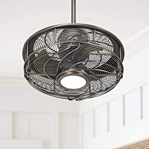 """17"""" Casa Vestige Modern Outdoor Ceiling Fan with Light LED Cage Antique Bronze Frosted White Glass Damp Rated for Patio Porch"""