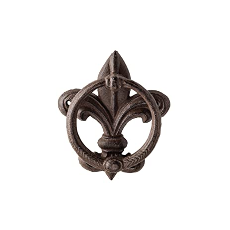 X 1.25 X 6.5 Inch Cast Iron Fleur De Lis Door Knocker In