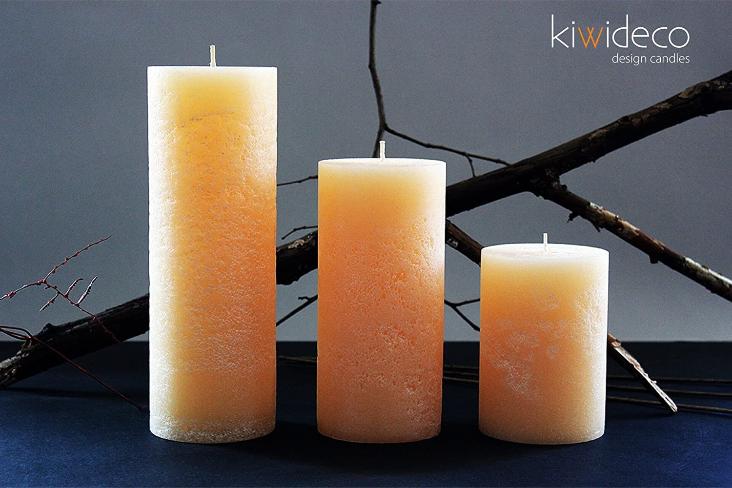 Handmade Rustic Pillar Large Candles Set (Beige) - High quality rustic candles. Hot cast. Colored wax. Handmade. Kiwideco