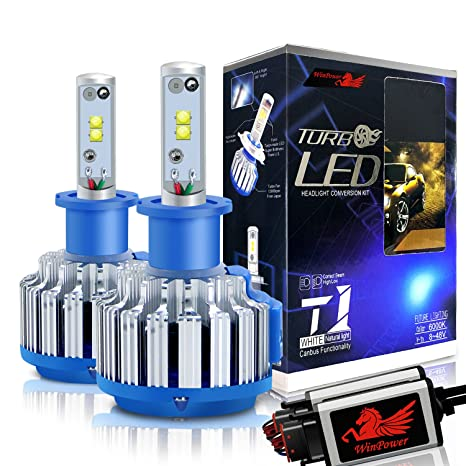 WinPower H3 LED Faro Bulbos Todo en uno Kit de conversión CREE 70W 7200Lm 6000K Efecto