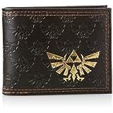 ZELDA Bifold Wallet with Embossed Link and Gold Foil Logos, Dark Brown (MW150911NTN)