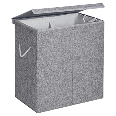 SONGMICS Fabric Double Laundry Hamper Separate Compartments Sorter 2 Sections Collapsible Clothes Storage Basket with Handles Detachable Lid and Liner 142L Gray ULCB02G