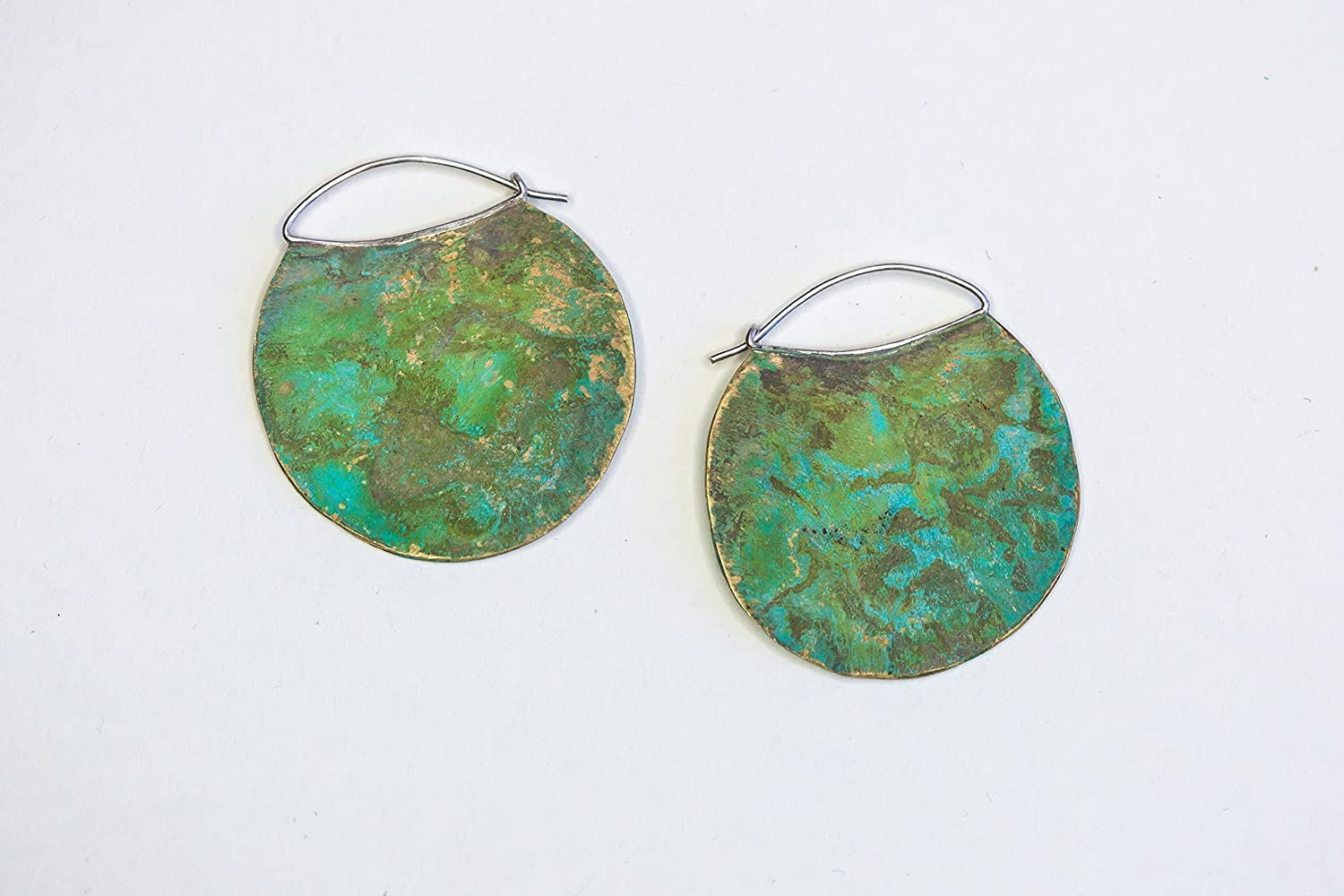 As Old As The Hills Small Hoop Brass Patina Earrings