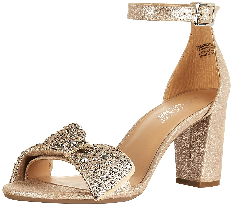 Champagne Leather Aerosoles Womens Sweet Bird Heeled Sandal