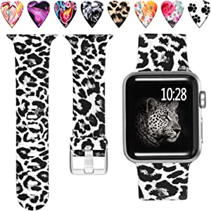 Laffav Waterproof Band Compatible with Apple Watch 42mm 44mm iWatch SE & Series 6 & Series 5 4 3 2 1 for Women Men, Black Leopard, S/M