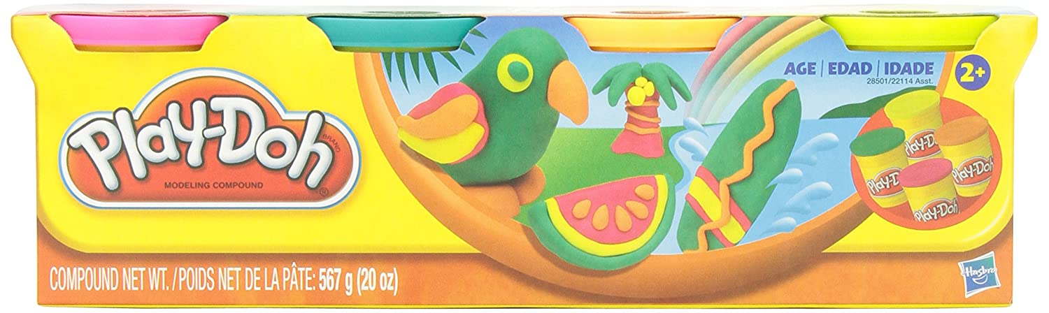 Play Doh Classic Tropical Colors 4 Can Pack Arts Crafts 20oz.