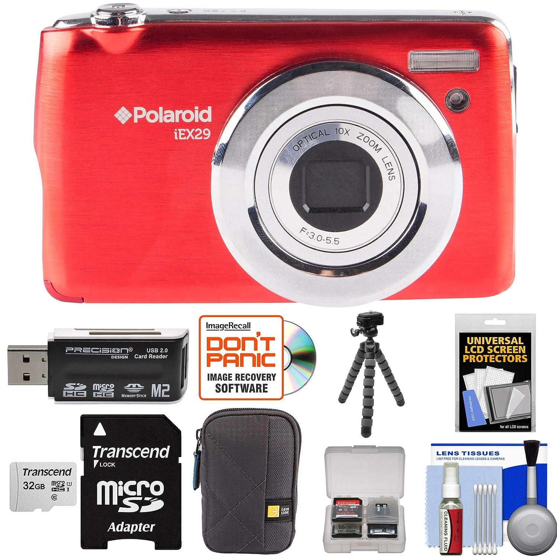 Polaroid iex29 18 MP 10 xデジタルカメラ(レッド) with 32 GBカード+ケース+三脚+キット   B01MQXPV17