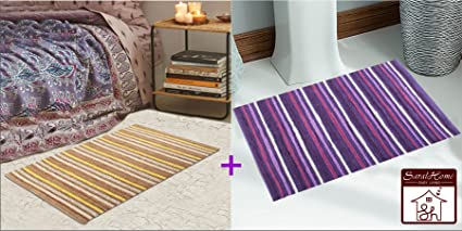 Saral Home Soft Cotton Handloom Made Rugs Set (Pack of 2, 50x70 cm), Multi