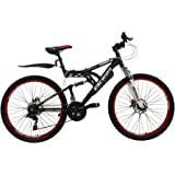 """BOSS Dominator Unisex Mountain Bike Black/Red, 18"""" inch aluminium frame, 18 speed front and rear mudguards front and rear zoom branded disc-brakes"""