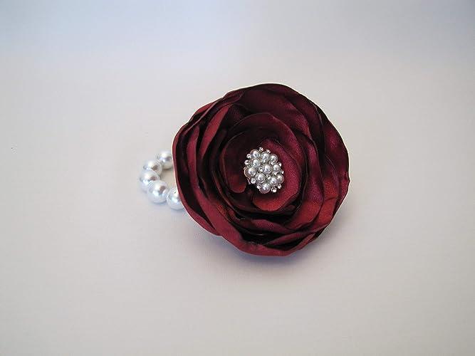 77f64bbef4d5 Amazon.com: Burgundy Wrist Corsage, Marsala Wedding Fabric Flower Bracelet,  Vintage-Style Shabby Chic Prom, Mother of Bride Rhinestone Bridal Brooch ...