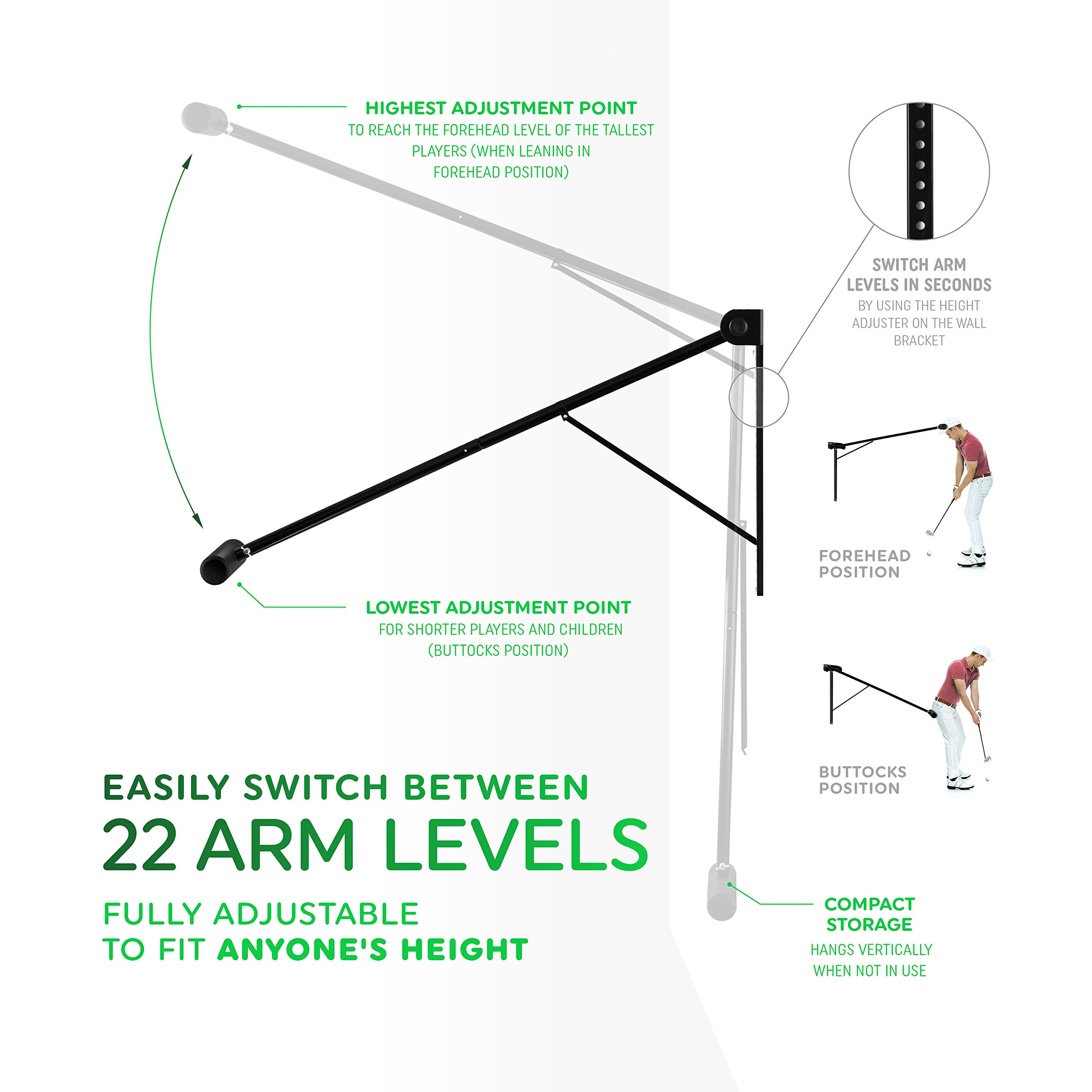 Golf Swing Trainer PRO-HEAD - Wall or Tree Golf Training Aid Equipment for All Golfers - Posture Correcting Tool - Fix and Keep a Steady Head, Maintain Spine Angle - Practice Indoor & Outdoor by PRO-HEAD (Image #3)