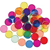 LEARNING ADVANTAGE-7253 Transparent Plastic Counters - Steel-Ringed - Set of 50 - Magnetic - Assorted Colors - Great for Kind