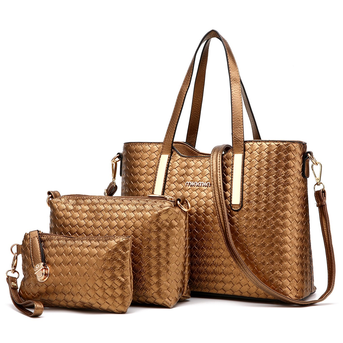 Tibes Fashion PU Leather Women Handbag+Shoulder Bag+Purse 3pcs Bag Weave Tote 111shoutibao22-mibaise