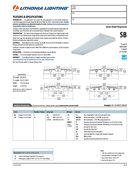 lithonia lighting wiring diagram lithonia image amazon com lithonia lighting sb 432 120 1 4 gesb 4 foot 4 light on lithonia
