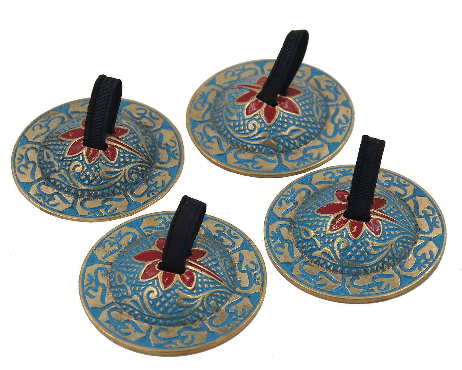 DharmaObjects 2 Pairs OM Pro Brass Fingers Cymbal Zills Belly Dancing Free Silk Pouch (Turquoise) by Lungta Imports