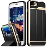 iPhone 8 Plus Wallet Case, iPhone 7 Plus Wallet Case, Vena [vCommute][Military Grade Drop Protection] Flip Leather Cover Card Slot Holder with Kickstand for iPhone 8 Plus, iPhone 7 Plus (Gold/Black)