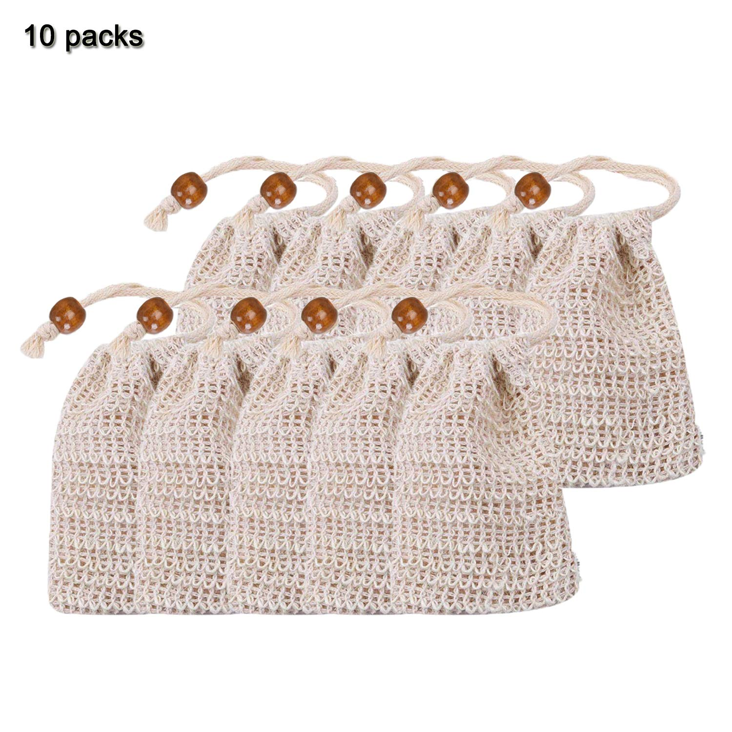 NARUTOO Exfoliating Natural Sisal Soap Bag Pouch Soap Saver(10 Pcs Sisal Soap Bag)