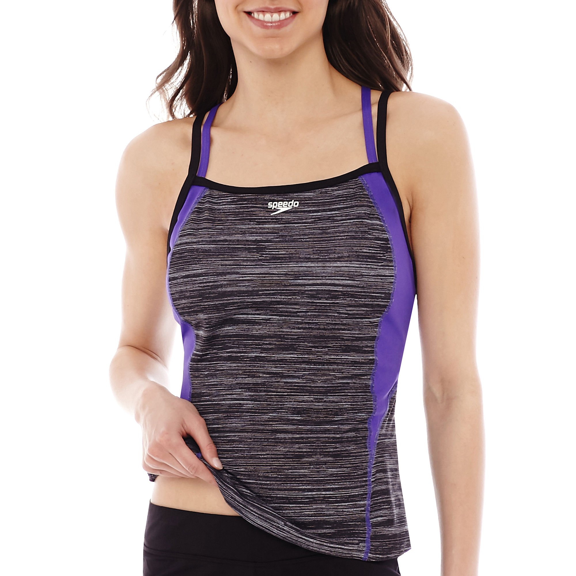 Speedo Women's Endurance Lite Textured Double Strap Tankini. Purple Large