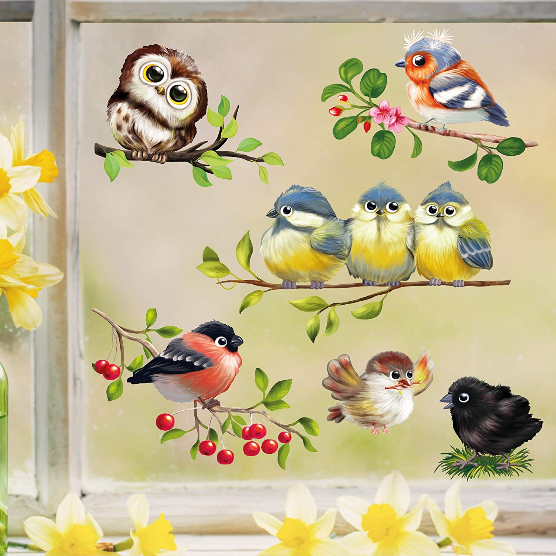 Wandtattoo Loft Fensterbild Frühling Ostern Vogel Set Frühlingshafte Fensterdeko Wiederverwendbare Vögel Fensteraufkleber 1 Din A4 Küche Haushalt
