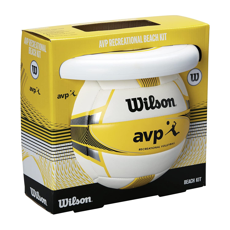 Wilson Set de pelota de vóley-playa y frisbee, Exterior, Uso recreativo, AVP Summer kit, Amarillo/Blanco, WTX0523KIT
