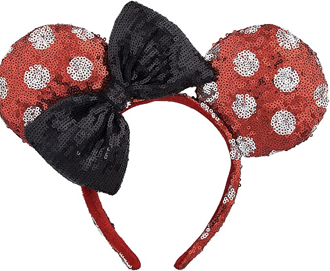 Disney Park Minnie Mouse Ears Mickey Red Bow Sequins Festival Cute Cos Headband
