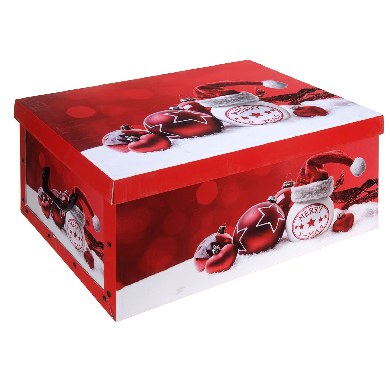 Christmas Xmas Design Cardboard Room Tidy Toy Storage Gift Box Chest Trunk (Red) Excellent Houseware