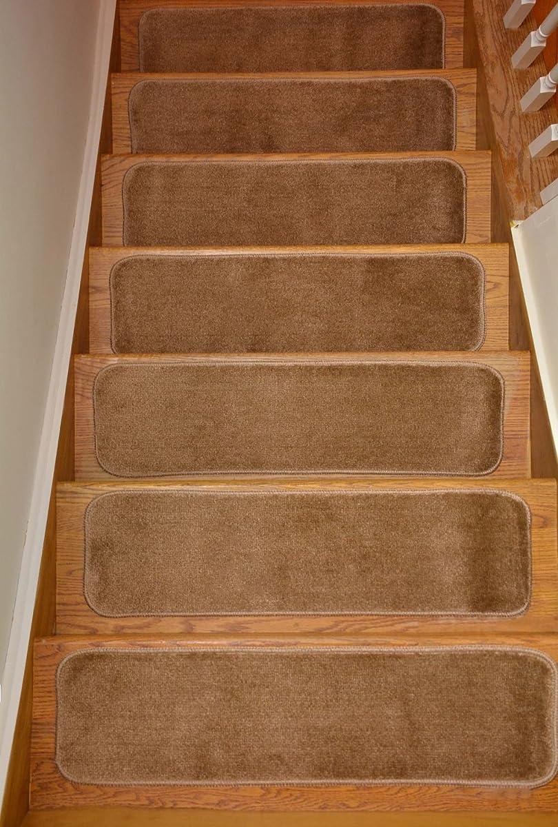 Comfy Stair Tread Treads Indoor Skid Slip Resistant Carpet Stair Tread Treads Machine Washable 8 ½ inch x 30 inch (Set of 13, Beige)
