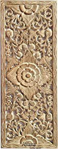 Lotus Carved Teak Wood Wall Art Panel. Asian Inspired Home Decor. Wood Carved Floral Wall Hanging. Size 35.5