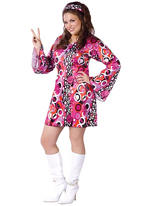 Hippie Costumes, Hippie Outfits Plus Size Feelin Groovy Dress Costume $34.99 AT vintagedancer.com