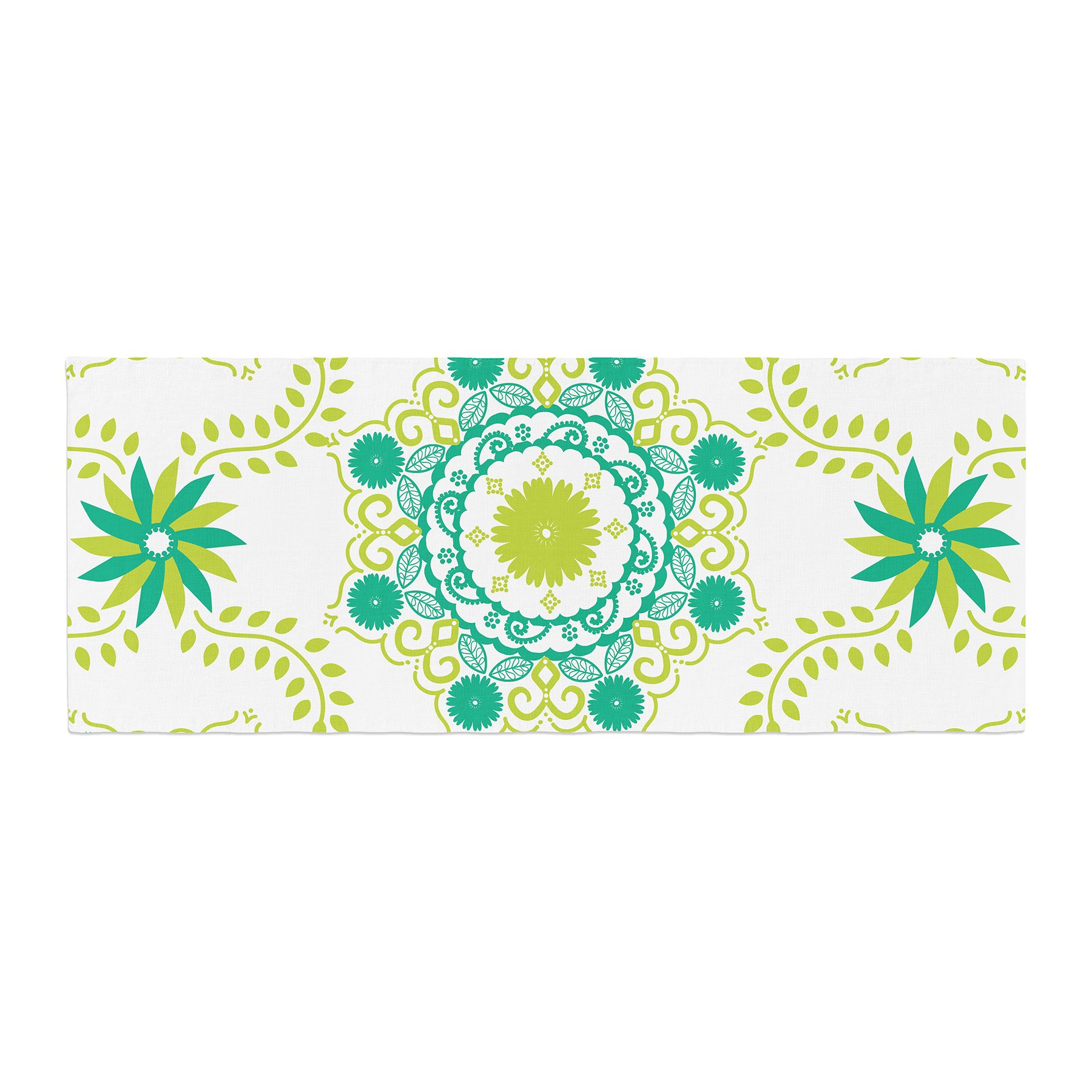 Kess InHouse Anneline Sophia Let's Dance Green Teal Floral Bed Runner, 34'' x 86''