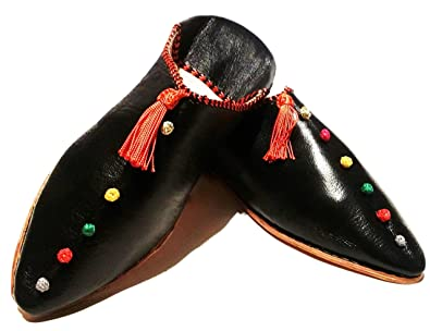 01ca815f7129 Moroccan Babouche Flat Leather Handmade Shoes - City Style in Berber Black   Ships from USA