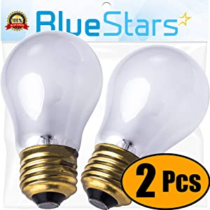Ultra Durable 8009 Light Bulb 40-watt Replacement Part by Blue Stars - Exact Fit for Whirlpool Models - Replaces 4169617, 4173062, 4211947, 42585, 4324154 - Pack of 2