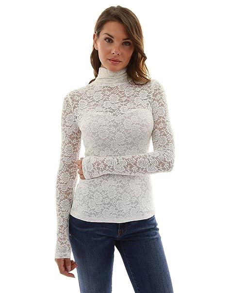 PattyBoutik Mujer Blusa de Encaje de Cuello Alto (Marfil 34)