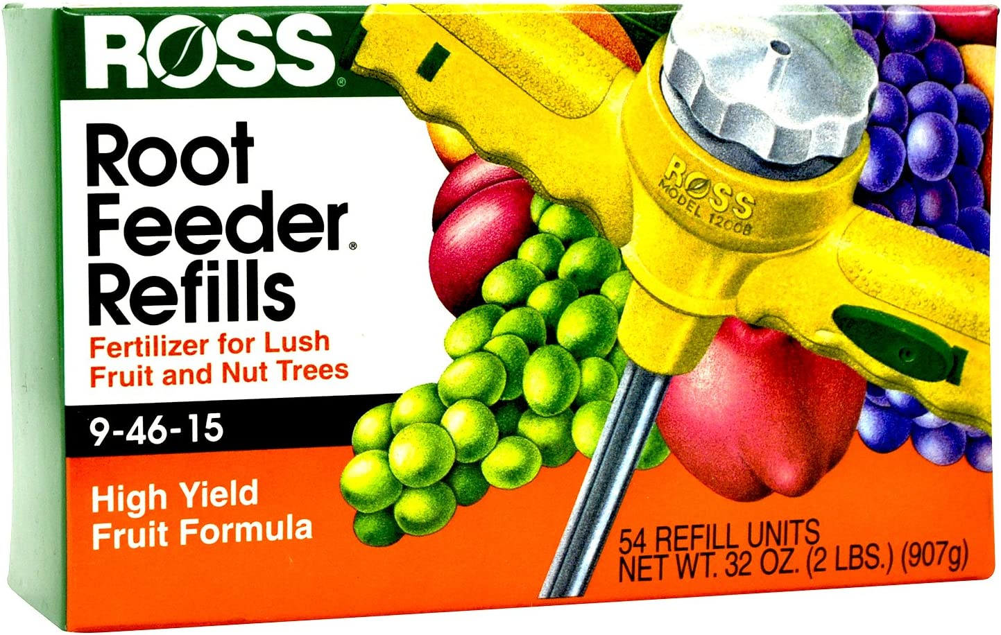 Ross Fruit & Nut Tree Fertilizer Refills for Ross Root Feeder, 9-46-15 (Ideal for Watering During Droughts) High Yield Fruit Formula, 54 Refills